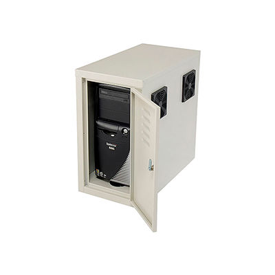 Global Industrial™ Computer CPU Side Cabinet with Front/Rear Doors and 2 Exhaust Fans, Beige