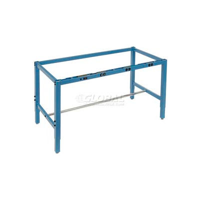 """72""""W x 30""""D Steel Square Tubular Height Adjustable Production Workbench Frame with Electric - Blue"""