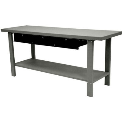 "Homak Automotive Steel Workbench, 3 Drawers, 78-3/4""W x 25-1/2""D, Gray"