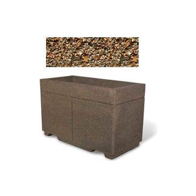 "Concrete Outdoor Planter w/Forklift Knockouts, 48""Lx24""Wx30""H Rectangle Tan River Rock"