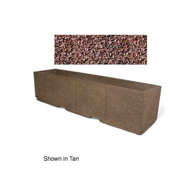 "Concrete Outdoor Planter w/Forklift Knockouts, 96""Lx24""W x 24""H Rectangle Red Quartzite"