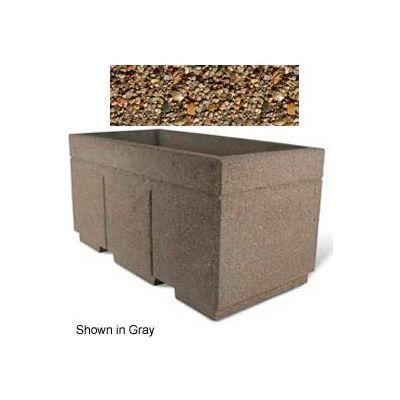 "Concrete Outdoor Planter w/Forklift Knockouts, 72""Lx36""W x 36""H Rectangle Tan River Rock"