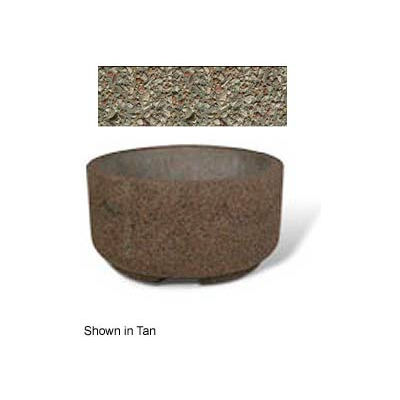 "Concrete Outdoor Planter w/Forklift Knockouts, 48""Dia x24""H Round Gray Limestone"