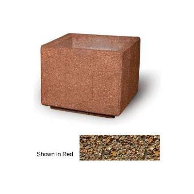 """Concrete Outdoor Planter, 36"""" Sq. x 30"""" H Square Tan River Rock"""