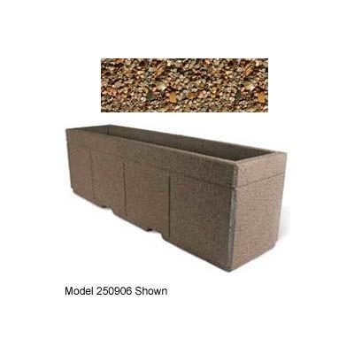 "Concrete Outdoor Planter w/Forklift Knockouts, 96""Lx30""W x 36""H Rectangle Tan River Rock"