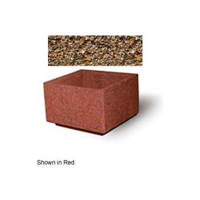 """Concrete Outdoor Planter, 36"""" Sq. x 24"""" H Square Tan River Rock"""