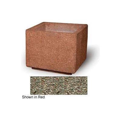 """Concrete Outdoor Planter, 36"""" Sq. x 30"""" H Square Gray Limestone"""
