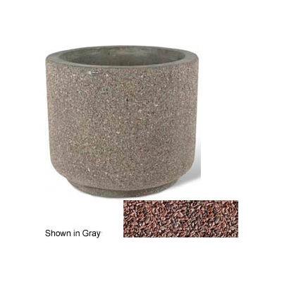 """Concrete Outdoor Planter 36""""Dia x 30""""H Round Red Quartzite"""