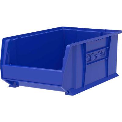 "Akro-Mils® Super-Size AkroBin® Plastic Stacking Bin, 12-3/8""W x 20""D x 8""H, Blue - Pkg Qty 3"