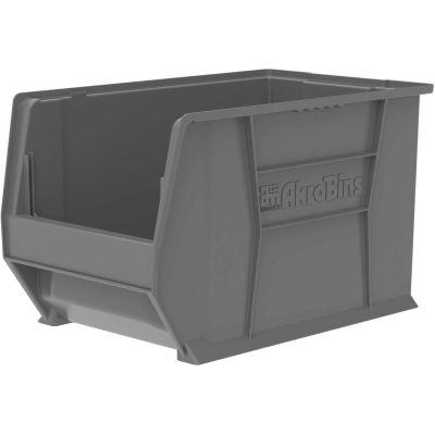 "Akro-Mils® Super-Size AkroBin® Plastic Stacking Bin, 12-3/8""W x 20""D x 12""H, Gray - Pkg Qty 2"