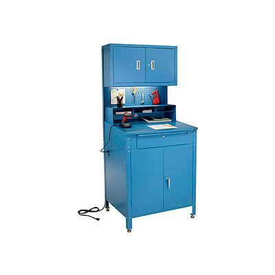"Cabinet Shop Desk with Pigeonhole Riser, Pegboard & Upper Cabinet 34-1/2""W x 30""D x 80""H - Blue"