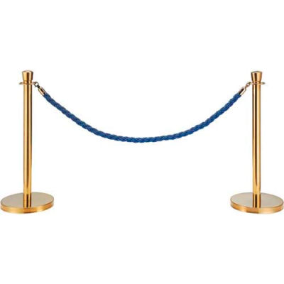 """Blue Vinyl Braided Rope 59"""" With Ends For Portable Gold Post"""