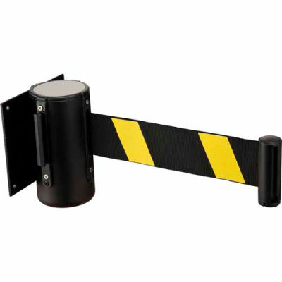 """Black Wall Mount 79"""" Black/Yellow Retractable Belt Barrier With Receiver"""