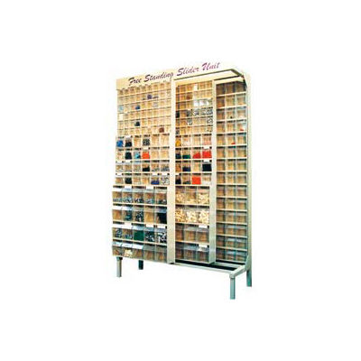 Quantum Gondola QS-305-36 Free Standing Slider System With 36 Bins Ivory