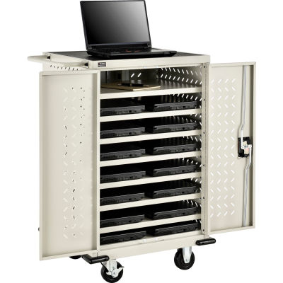 Global Industrial™ Mobile Charging Cart for 12 Chromebooks and Tablets, Putty, Unassembled
