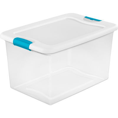 Sterilite 14978006 Clear Storage Tote With Lid 64 Quart 23-3/4x16x13-1/2  - Pkg Qty 6