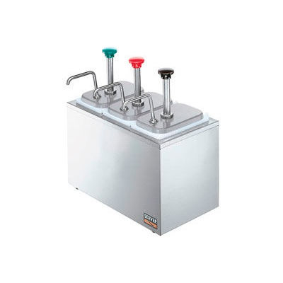 Server 82870, Non-Insulated Rail w/ (3) Stainless Steel Pumps & (3) Deep Fountain Jars