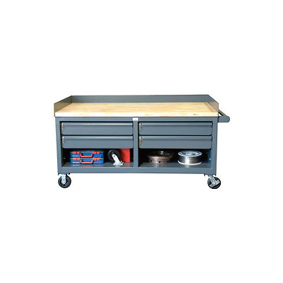 """Mobile Cabinet Workbench With Key Lock Drawers - 72"""" W x 36"""" D x 26"""" H"""