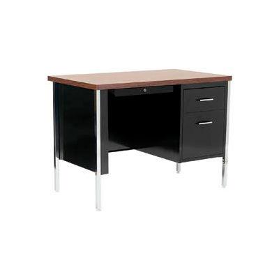 "Sandusky Steel Desk with Center Drawer - Single Right Pedestal - 45"" x 24"" - Black/Walnut Top"