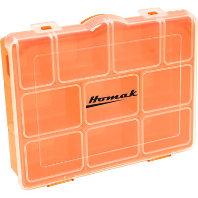 "Homak HA01086175 7 Adjustable Short Plastic Storage Compartment Box, 8""L x 6-1/4""W x 1-3/4""H - Pkg Qty 24"