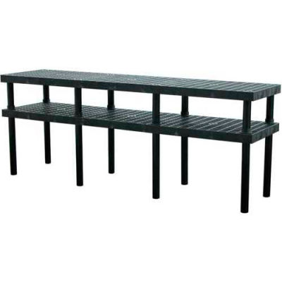 """Plastic Work Bench with Grid Top - 96""""W x 24""""D x 36""""H"""