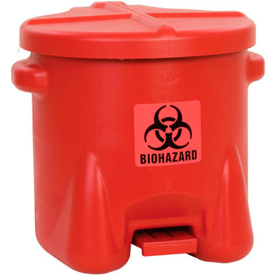 Eagle 10 Gallon Safety Poly Biohazardous Waste Can, Red - 945BIO