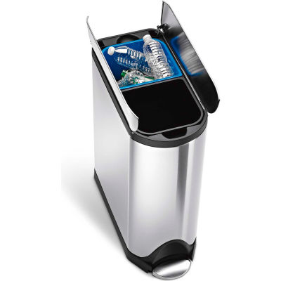simplehuman® Butterfly Recycling Step Can - 10-1/2 Gallon Brushed SS
