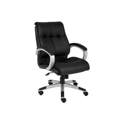 Boss Double Plush Executive Office Chair - Leather - Mid Back - Black