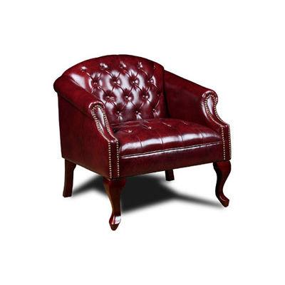 Boss Reception Button Tufted Club Chair - Vinyl - Oxblood