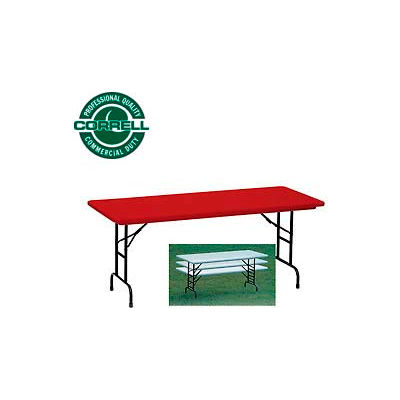 "Correll Adjustable Height Folding Table - Blow Molded - 24""x 48"" Red"