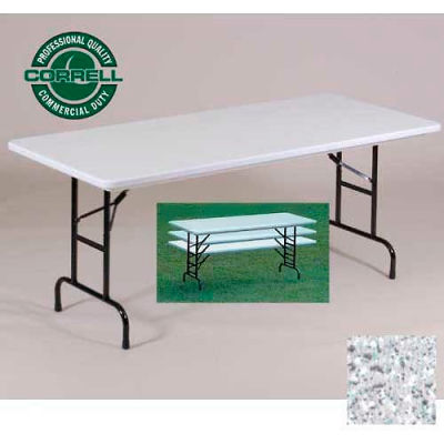 """Correll Adjustable Height Folding Table - Blow Molded - 30"""" x 72"""", Gray Granite"""
