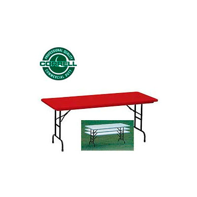 """Correll Adjustable Height Folding Table - Blow Molded - 30"""" x 60"""" Red"""