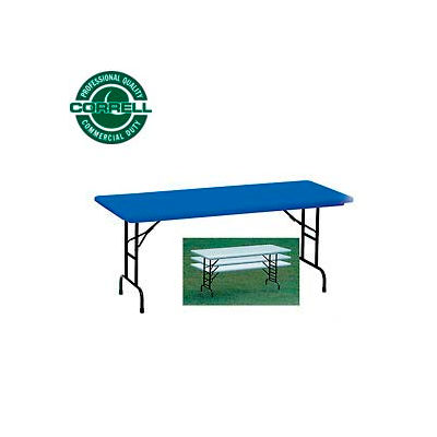 """Correll Adjustable Height Folding Table - Blow Molded - 30"""" x 60"""" Blue"""