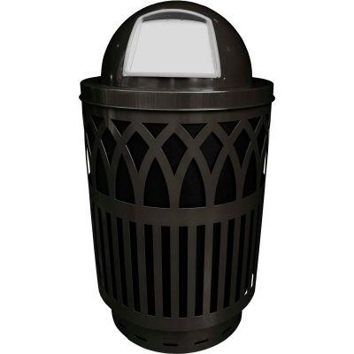 Covington Series 40 Gallon Steel Receptacle w/ Dome Top & Plastic Base - Black - COV40P-DT-BK