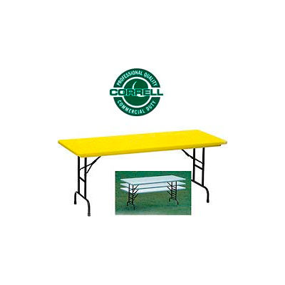"""Correll Adjustable Height Folding Table - Blow Molded - 30"""" x 72"""", Yellow"""