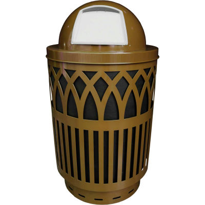 Covington Series 40 Gallon Steel Receptacle w/ Dome Top & Plastic Base - Brown - COV40P-DT-BN