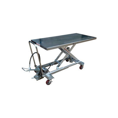 Stainless Steel Pneumatic Mobile Scissor Lift AIR-1000-LD-PSS 1000 Lb.