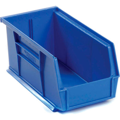 Global™ Plastic Stacking And Hanging Parts Bin 5-1/2 x 10-7/8 x 5, Blue - Pkg Qty 12