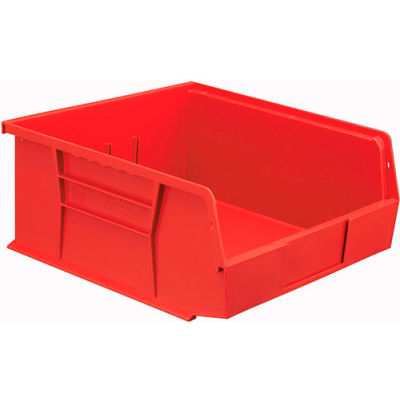Global Industrial™ Plastic Stack and Hang Parts Storage Bin 11 x 10-7/8 x 5, Red - Pkg Qty 6