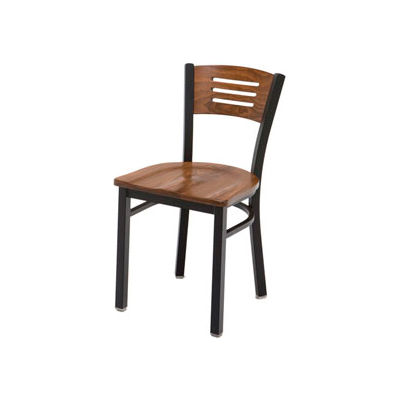 KFI - 3315B-WL - Black Metal Frame Cafe Chair with Wood Seat and Back Walnut