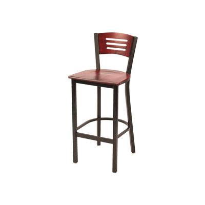 KFI - Metal Cafe Barstool with Wood Seat and Back Mahogany