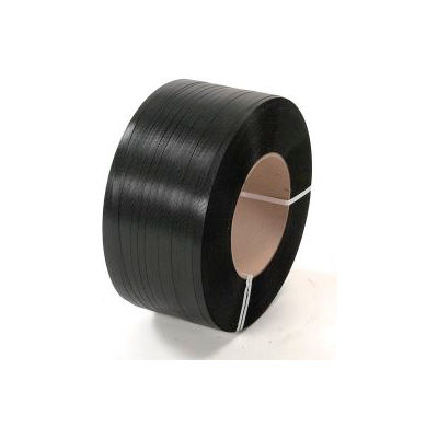 """Pac Strapping 8"""" x 8"""" Core Polypropylene Strapping, 7200'L x 1/2""""W x 0.026"""" Thick, Black, 1 Pack"""