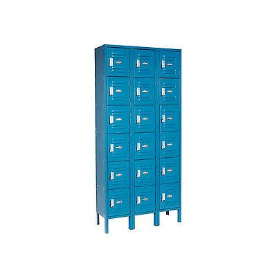 """Global Industrial™ Infinity® Six Tier 18 Door Locker, 12""""Wx18""""Dx12""""H, Blue, Assembled"""