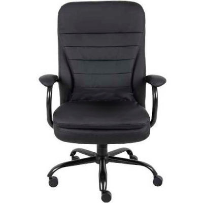 Interion® Big and Tall Executive Chair with Arms and Pillow Top - Vinyl - High Back - Black
