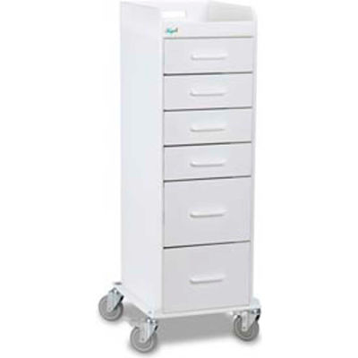 "TrippNT™ 51033 Tall Locking 6 Drawer Medical Cart, White, 16""W x 19""D x 47""H"