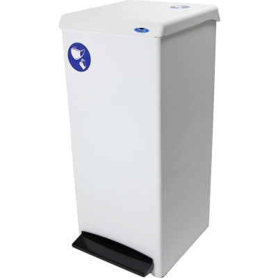 Frost Step-On PPE Waste Can, 25.1 Gallon White