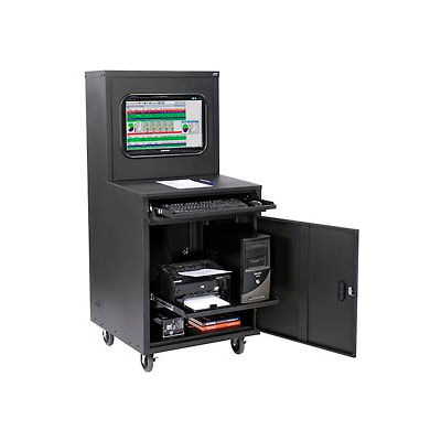 Global Industrial™ Deluxe LCD Industrial Computer Cabinet, Black, Unassembled