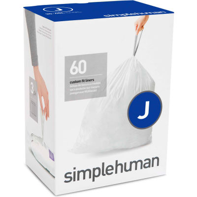 simplehuman® Trash Can Liner Code J - 10.5 Gallon,  21.1 X 28, 1.18 Mil, White, Pack of 240
