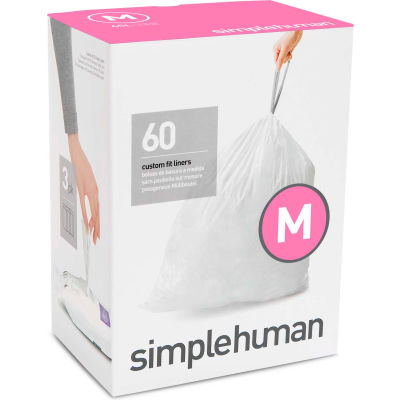 simplehuman® Trash Can Liner Code M - 12 Gallon,  21.5 X 30.7, 1.18 Mil, White, Pack of 240