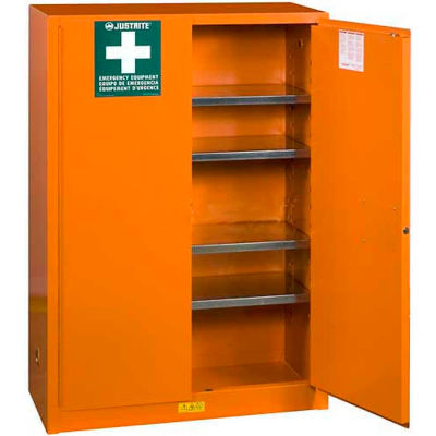 "Justrite Emergency Preparedness Cabinet 65"" x 43"" x 18"" Emergency Orange"